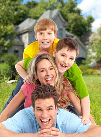 young man smiling: Happy family.