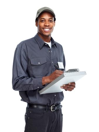 Trabajador hombre afroamericano.