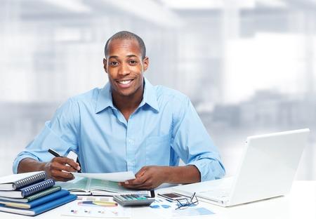 africanamerican: African-American black businessman in office.