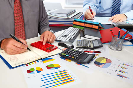 Hands of accountant man Stock Photo