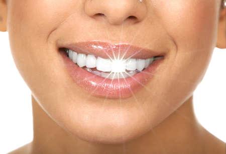 smile close up: Happy woman smile. Stock Photo