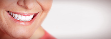 mouth close up: Happy woman smile. Stock Photo