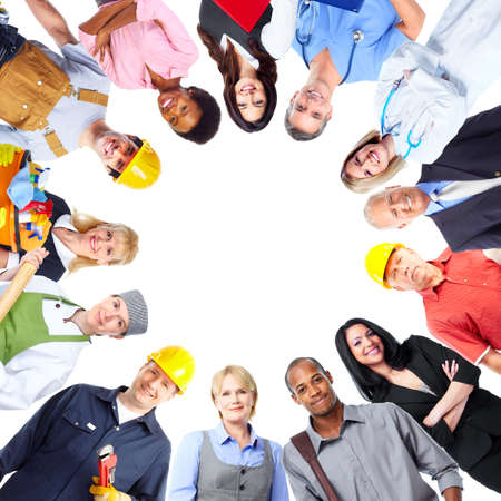 group cooperation: Group of workers people.
