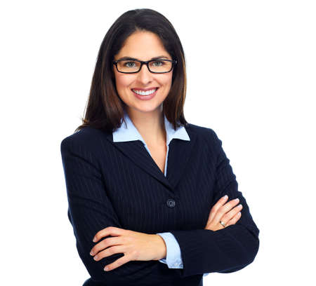woman in white: Young business woman with eyeglasses.