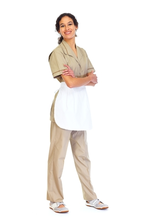 isolated  white: Housemaid donna isolata sfondo bianco. Archivio Fotografico