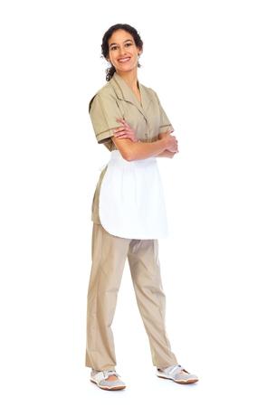 housemaid: Housemaid woman isolated white background. Stock Photo
