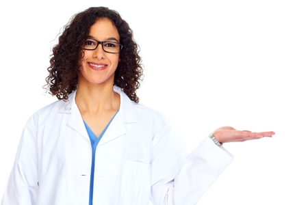 Medical doctor woman presenting copy space.