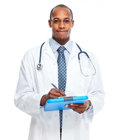 young black man: African american doctor writing prescription.