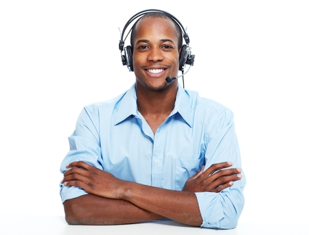 on call: Call center operator man. Stock Photo