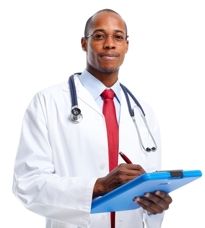 Medical doctor writing prescription. Stock Photo