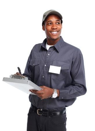 mailmen: African-American worker man. Stock Photo