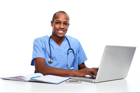 medical computer: Medical doctor working with computer.