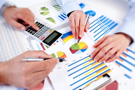 accountancy: Hands of business people