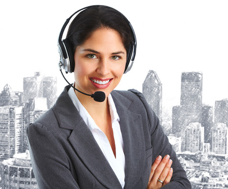 earphone: Woman with headsets Stock Photo
