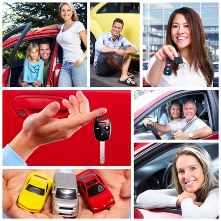 drivers: Happy couple with a new car. Stock Photo