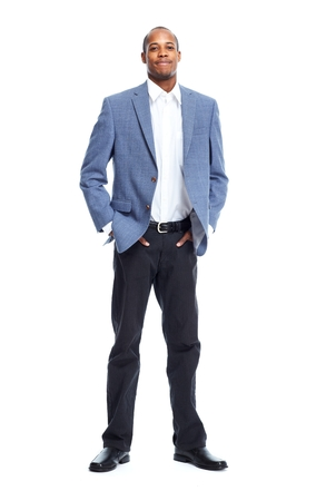 background white: Hombre de negocios estadounidense con estilo