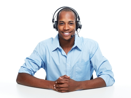 contact center: Call center operator man. Stock Photo