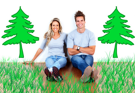 ecological: Couple in ecological home. Stock Photo