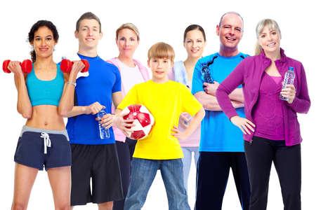 bonhomme blanc: Un groupe de gens de fitness. Banque d'images