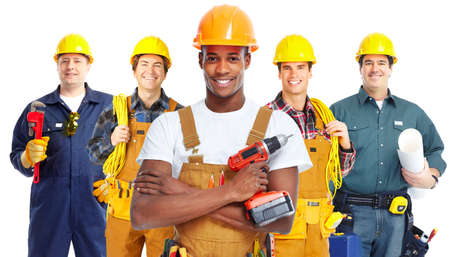 electrician tools: Group of construction workers.