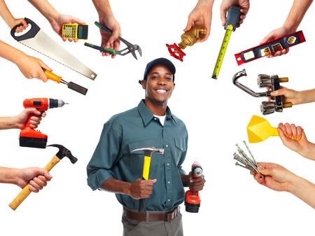 carpenter: Travailleur de la construction avec des outils