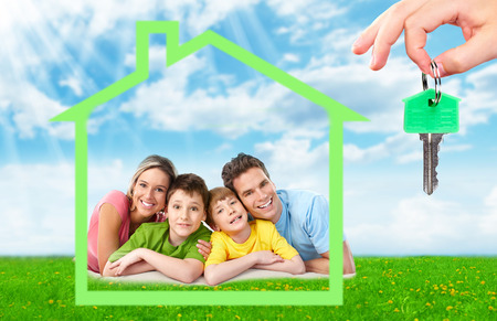 housing: Family near new house.