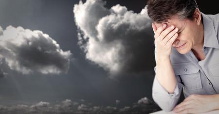 hypotension: Man having migraine headache. Stock Photo