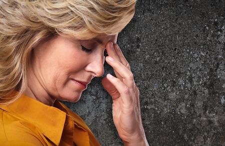 migraine: Woman having migraine headache.