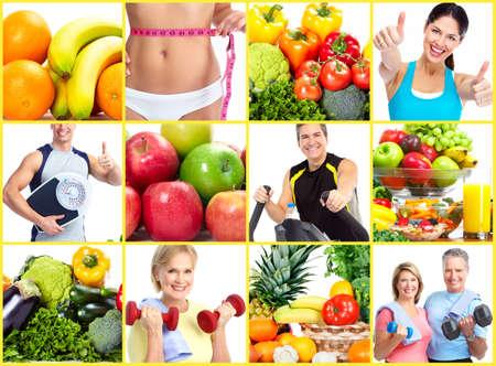 salud y deporte: La p�rdida de peso y la dieta collage. Foto de archivo