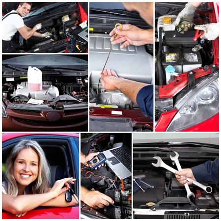 motor mechanic: Car repair collage.