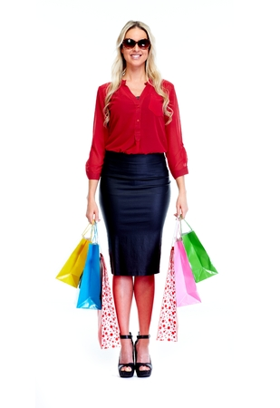 boxing day sale: Beautiful woman with shopping bags.