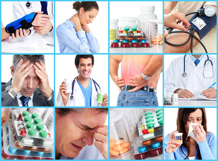 analgesics: Medical collage. Stock Photo