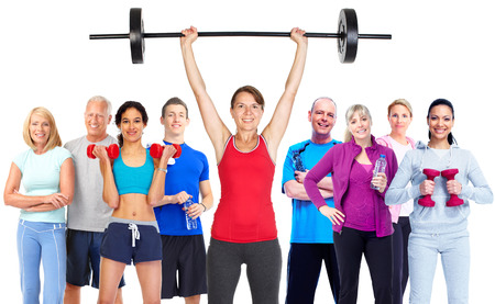exercise weight: Group of fitness people.