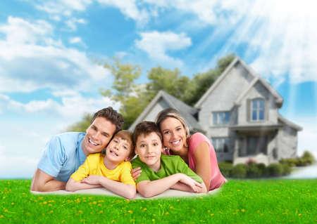 dream house: Family near new house.