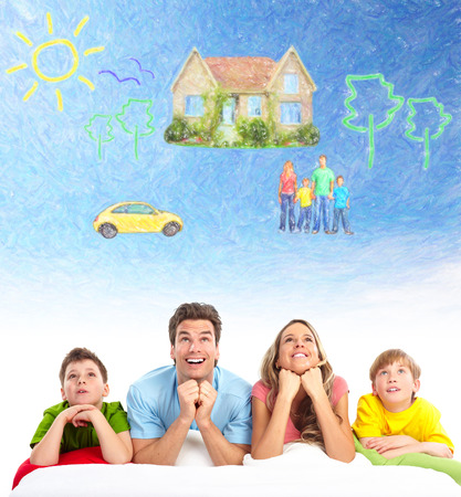 housing estate: Family thinking about new home and car. Stock Photo