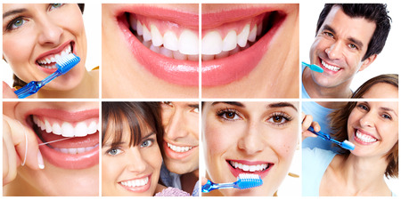 white teeth: Teeth with toothbrush. Stock Photo