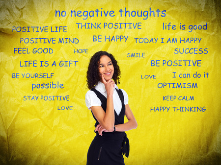 self improvement: Positive thinking girl over abstract background.