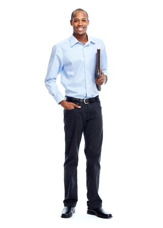 ejecutivos: Empresario afroamericano con la carpeta. Foto de archivo