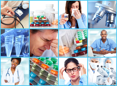 headache: Medical collage. Stock Photo