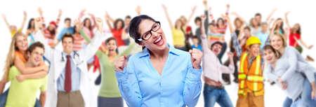 empleados trabajando: Grupo de gente feliz trabajadores.