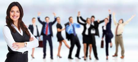 campeão: Grupo de pessoas felizes trabalhadores.