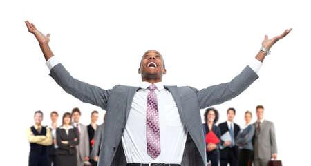 ejecutivos: Grupo de gente feliz trabajadores.