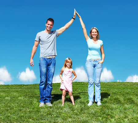 child protection: Happy family.