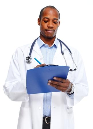 doctor writing: Medical doctor writing prescription. Stock Photo