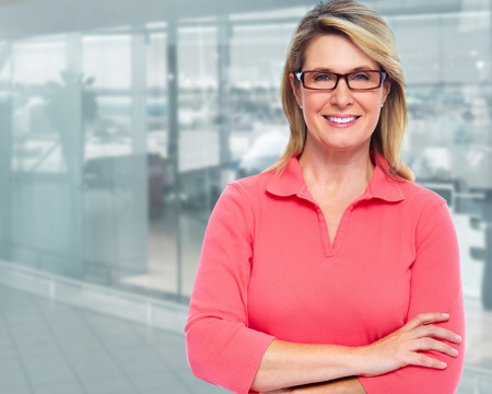 interiour: Mature business woman. Stock Photo