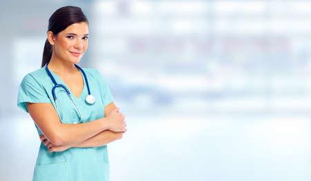 zdrowie: Opieki zdrowotnej lekarz kobieta. Zdjęcie Seryjne