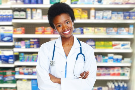 african lady: Health care medical doctor woman. Stock Photo