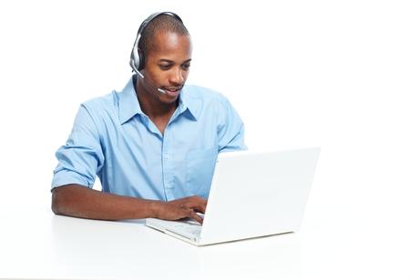 computer operator: Call center operator man. Stock Photo
