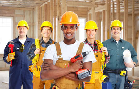 building contractor: Group of construction workers.