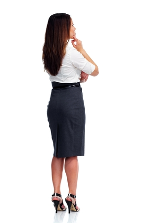 fold back: Business woman looking copy space